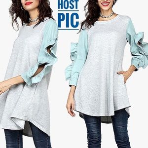 🎉HP🎉 Gray French Terry Ruffle Sleeve Tunic XL